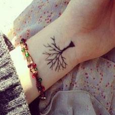 手腕小清新树纹身图案