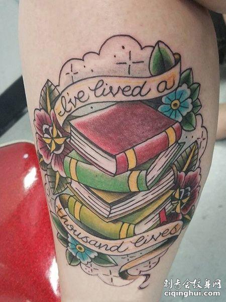 小腿一叠书本纹身图片