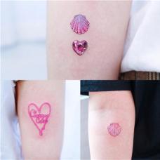 小清新粉色水晶泫雅风纹身