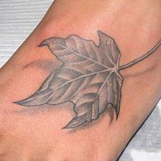 脚背上树叶纹身图案