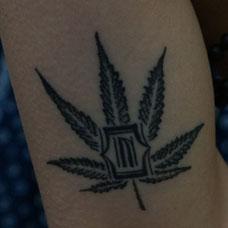 手臂大麻树叶纹身图片