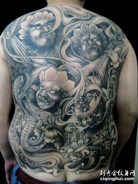 经典的四大天王满背纹身图案