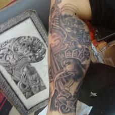 小腿个性四大天王纹身图案