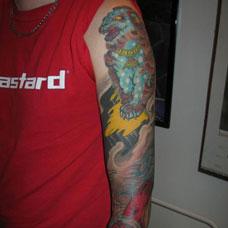 花臂唐狮纹身图案