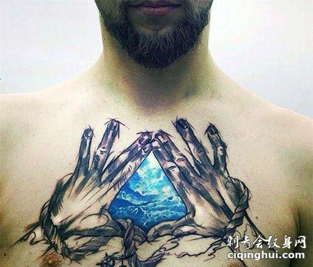 胸前三角形天空纹身图案