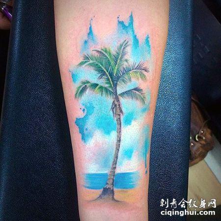 海岛风情,手臂天空和椰树纹身图案