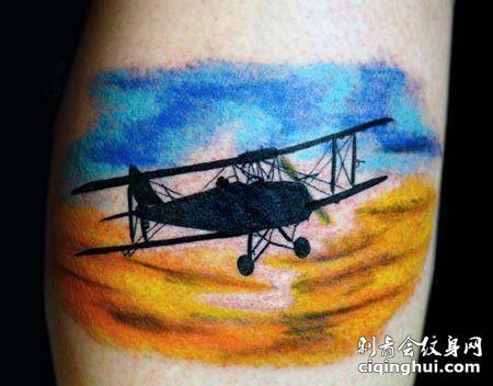 大臂翱翔在天空的飞机纹身图案
