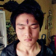 社会青年头部天眼纹身图案