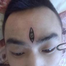 头部个性的天眼纹身图片