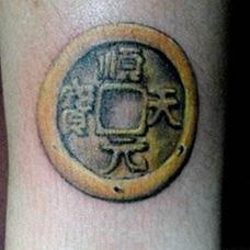 手腕铜钱纹身图案