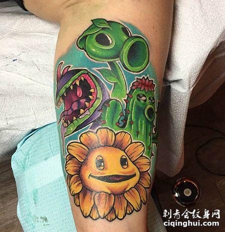 小腿豌豆和向日葵纹身图案