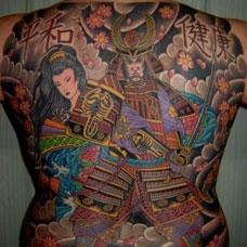 满背日式武士艺妓纹身图案