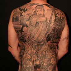 满背武士纹身图片