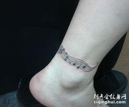 脚踝五线谱纹身图片