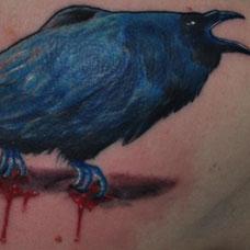 背部暗蓝色乌鸦纹身图案