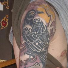 花臂乌鸦纹身图案
