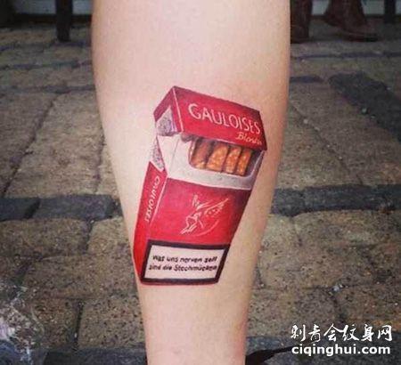 小腿一包红色的香烟纹身图案