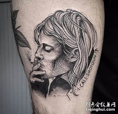 小腿素描吸烟的人纹身图案