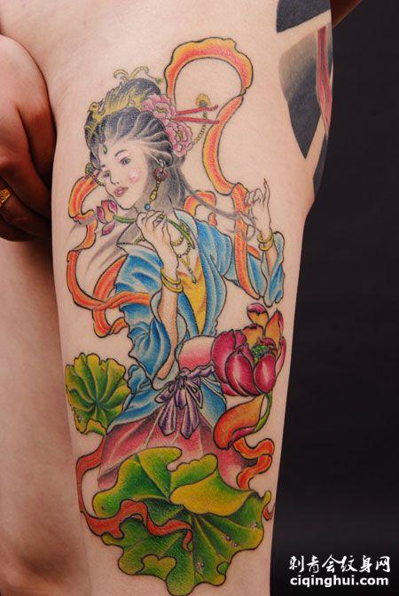 大腿莲花仙女纹身图案