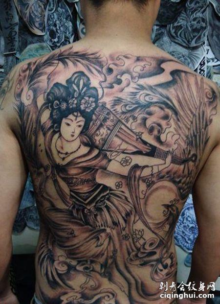 满背仙女纹身图案