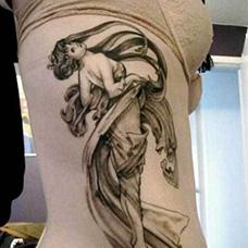 女生侧腰仙女纹身图案