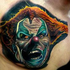 胸部个性小丑纹身图案