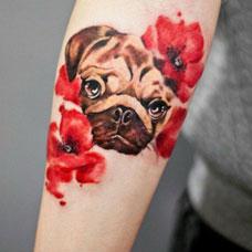 手臂小狗花朵纹身图案