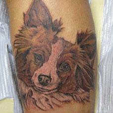 小腿萌萌的小狗纹身图案
