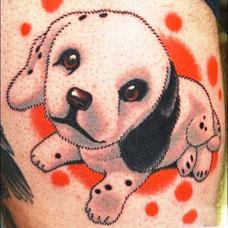 大腿可爱的小狗纹身图案