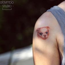 吴娴肩部可爱的小狗纹身