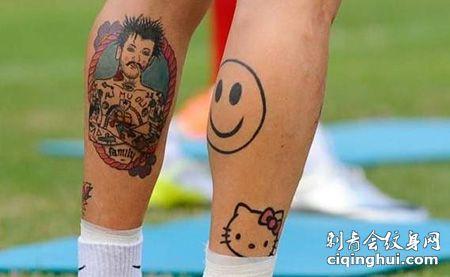 球员小腿笑脸纹身图案