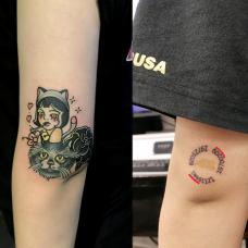 手臂oldschool小猫胎记纹身