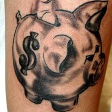 大臂小猪储蓄罐纹身图案