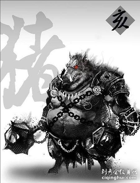 暗黑水墨风十二生肖霸气猪纹身手稿