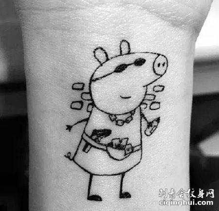 手腕个性小猪佩奇纹身图案