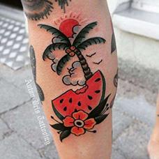 小腿oldschool西瓜纹身图案