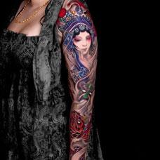 个性花臂戏子纹身图案
