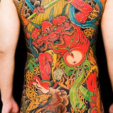 全身彩色夜叉纹身图片