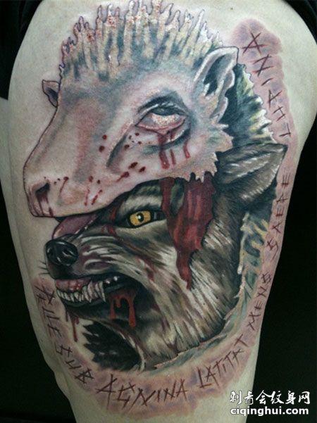 大臂血狼和羊纹身图案