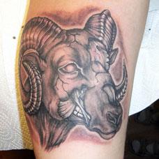 小臂上的羊头纹身图案
