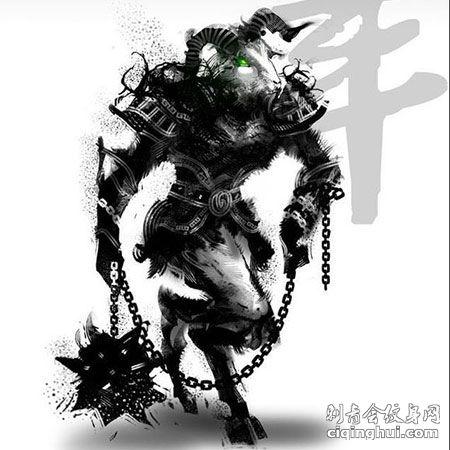 暗黑水墨风十二生肖羊霸气纹身手稿
