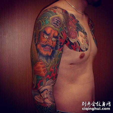 花臂阎王纹身图案