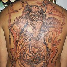 满背霸气夜叉纹身图案