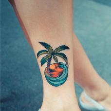 脚踝海浪椰树纹身图片