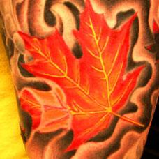 大臂上的红色叶子纹身图案