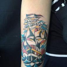 小臂好运一帆风顺纹身图案