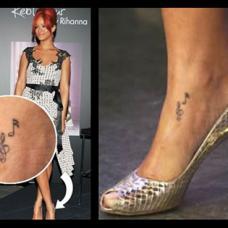 Rihanna脚背内侧音符纹身图片