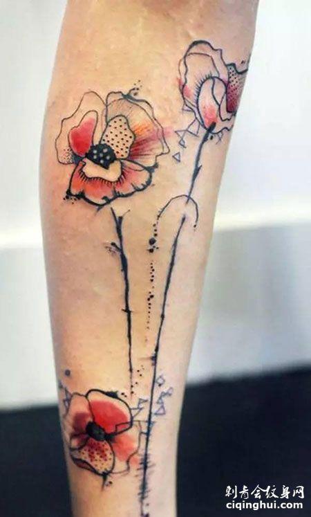 小腿彩色罂粟花纹身图片