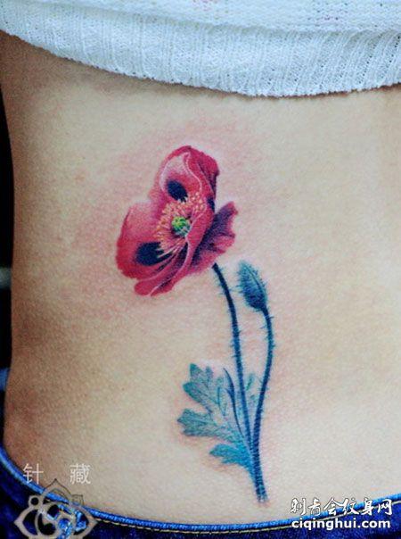 腹部罂粟花纹身图案