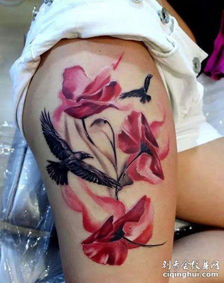 大腿个性罂粟花纹身图片